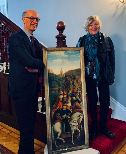 Jan Van Eyck painting and dublin belgian ambassador and Isabel conway
